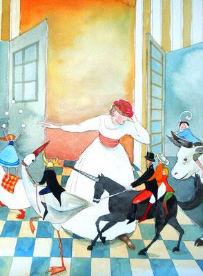 Ausstellung von Aquarellzeichnungen zur Märchenlesung im Atelier am Schliersee