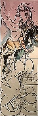 """Matthias Laurenz Gräff, Allegorie auf Alexander van der Bellen und Norbert Hofer bei der Bundespräsidentenwahl"""""""", Werkzustand II"""