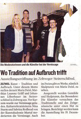 Ausstellungsbericht Matthias Laurenz Gräff, Steirerschlössl Zeltweg, Kleine Zeitung, Murtal. Ausgabe Sonntag, 7. September 2014, S. 39. Copyright Walter Schindler