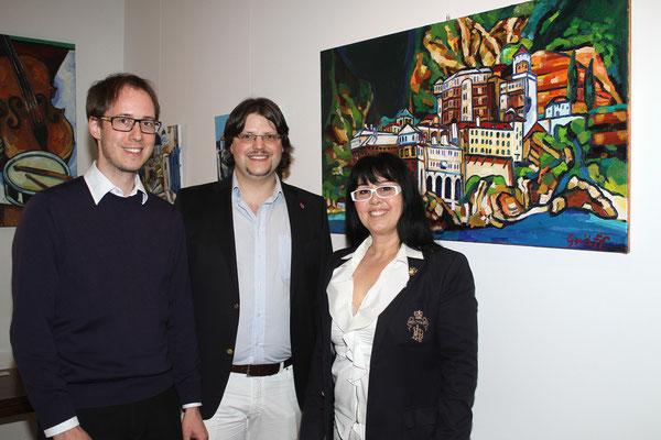 Dr. Florian Gach, Matthias Laurenz Gräff mit Georgia Kazantzidu. Foto Martin Kalchhauser / NÖN Horn