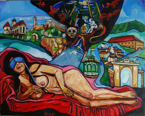 """Matthias Laurenz Gräff. """"Garser Wein, Pathos"""", Öl auf Leinwand, 120x150 cm"""