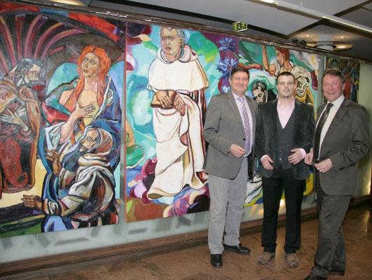 Bezirksvorsteher Manfred Wurm, Matthias Laurenz Gräff und Bürgermeister Martin Falk. Foto Martin Kalchhauser NÖN Horn