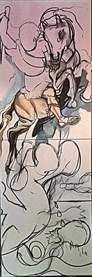 """Matthias Laurenz Gräff, Allegorie auf Alexander van der Bellen und Norbert Hofer bei der Bundespräsidentenwahl"""""""", Werkzustand I"""