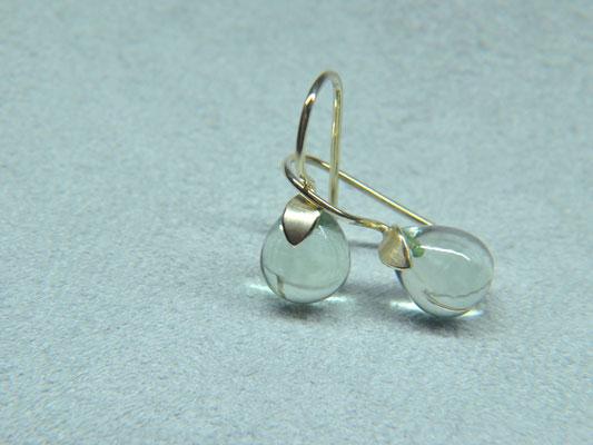 Set Prasiolith Lotus Gold Tropfen Diamant