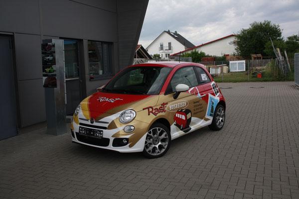 Rast Reisen Werbevollfolierung, Carwrapping, Fiat 500