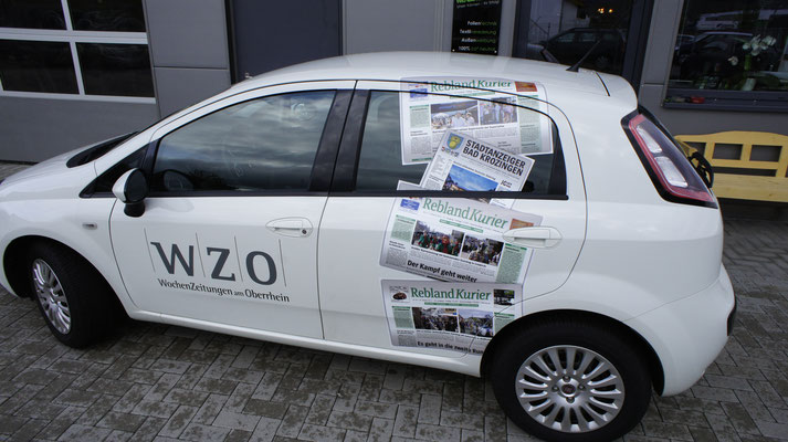Rebland Kurier Werbebeschriftung, Teilwrapping, Fiat Punto