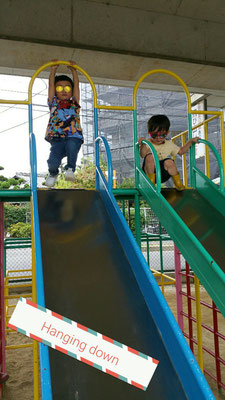 Hanging on the slides