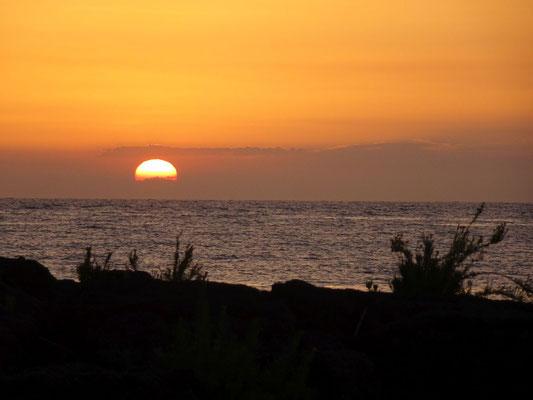 Sonnenaufgang im Garten des Hotels