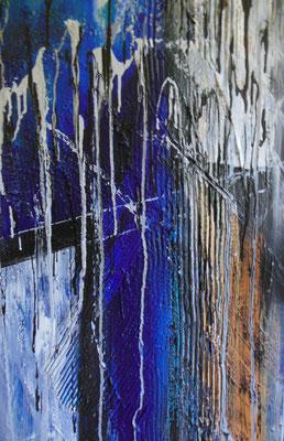 171  -  MONSUN  Acrylcollage geschüttet 60x100cm      €   450,--