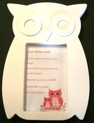 Gedicht baby meisje in uilenlijst € 9,95