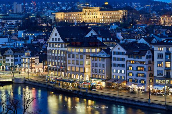 Abenddämmerung über Zürich Limmatquai - #9033