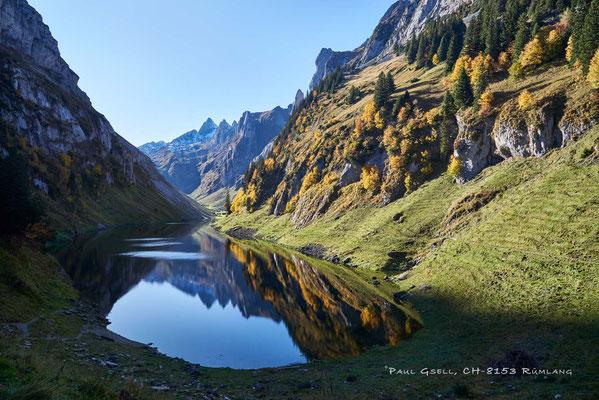 Fählensee mit Herbstsonne am Schafberg