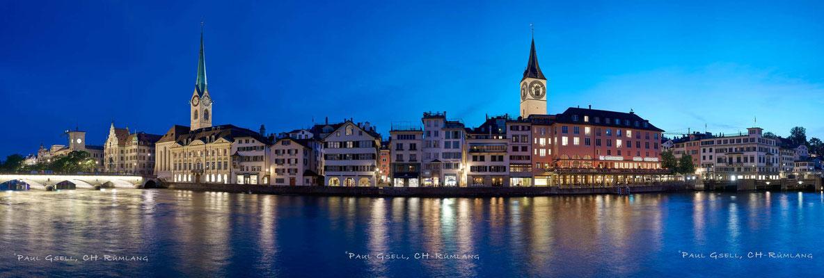 Zürich - Altstadt Wühre mit Kirchen Fraumünster und St. Peter