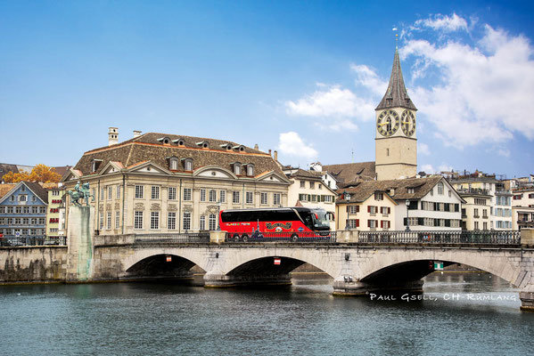 Hans Meier Zurich City Tours - Münsterbrücke mit Kirche St. Peter
