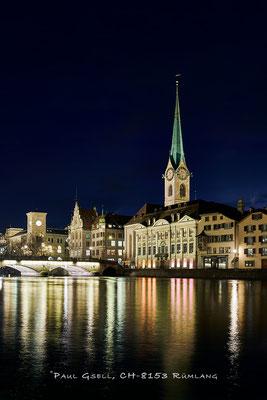 Zürich Münsterbrücke, Stadthaus, Zunfthaus zur Meise und Kirchturm Fraumünster - #3823