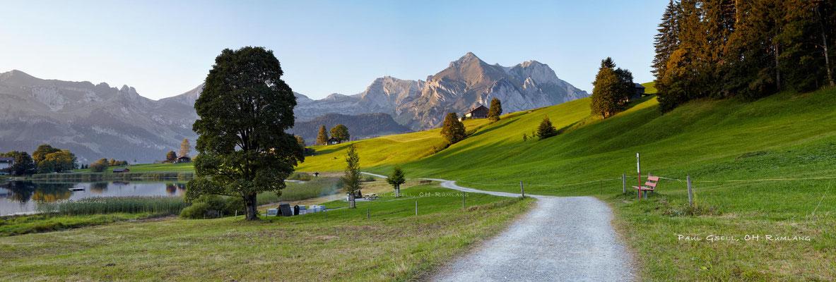 Flachmoorgebiet Schwendi - Blick auf Schafberg und Säntis