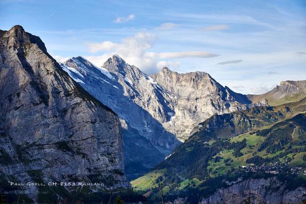 Blick auf Mürren und die Bergspitzen Tschingelspitz, Gspaltenhorn und Bütlasse - #3312