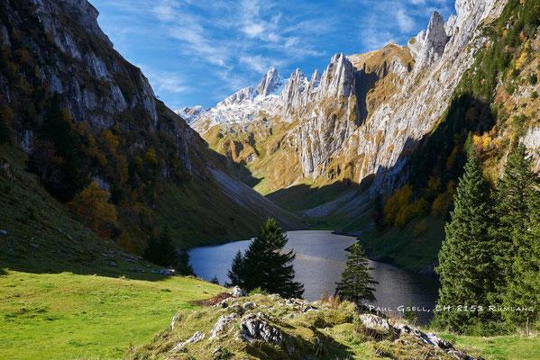 Blick von Bollenwees auf Fählensee und Alpstein mit Altmann
