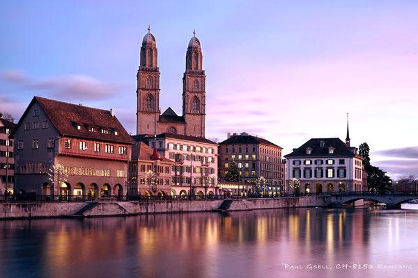 Zürich - Limmatquai bei Abenddämmerung - #7111