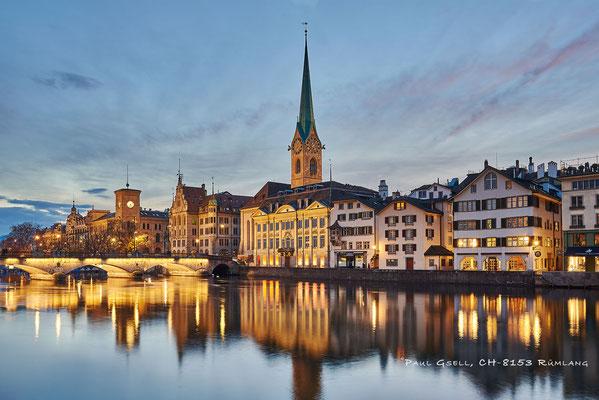 Blick auf die Wühre in Zürich bei Abenddämmerung - #3766
