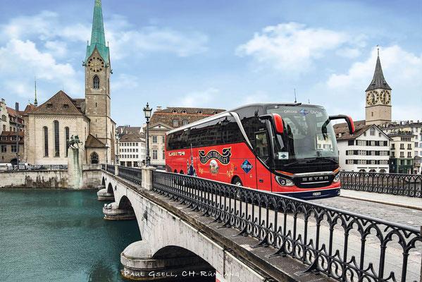 Hans Meier Zurich City Tours - Münsterbrücke mit Kirchen Fraumünster und St. Peter