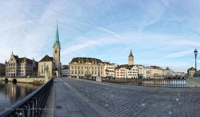 Zürich - Münsterbrücke, Kirchen Fraumünster und St. Peter