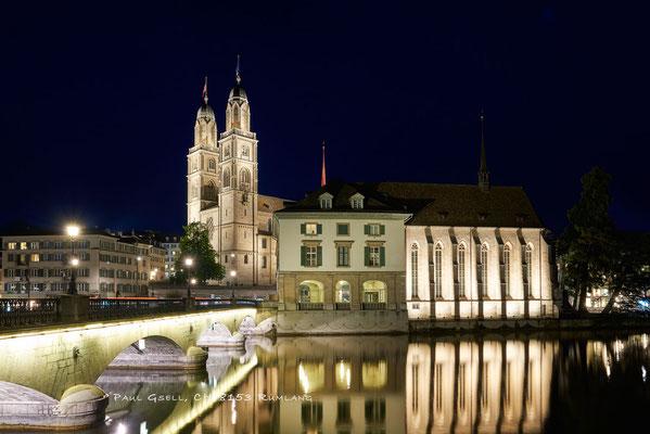 Zürich - Münsterbrücke, Grossmünster, Helmhaus, Wasserkirche - #1950