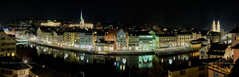 Zürich - Blick vom Lindenhof auf Limmatquai
