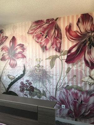 Tête de lit  papier peint à motifs Fleurs