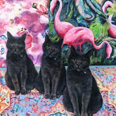 'Cat on print' oil on canvas, 50x50cm €525
