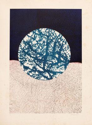 Litografía - collage de J.J. THARRATS VIDAL (Girona, 1918 – Barcelona, 2001)