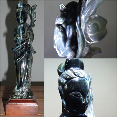 Kwan yin beautiful carved obsidian ✯ Preciosa Kwan yin de obsidiana tallada