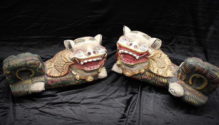 Madera policromada (Foo Lions - Dogs Fu) Polychrome wood (狗福 - 福獅)