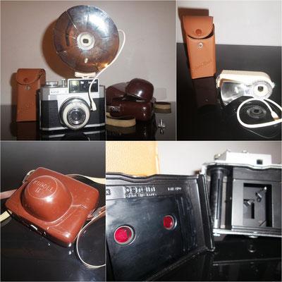 Cámara de fotos vintage Koroll 2 + flash de bombilla Duo Lux