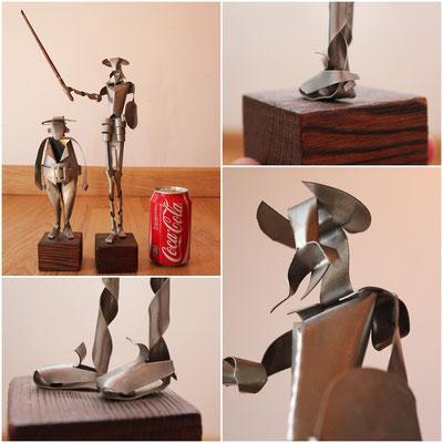 Esculturas Quijote y Sancho (metálicas con base de madera)