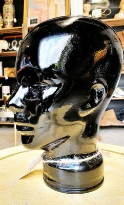 Cabeza cristal negro farmacia (Vintage) Pharmacy black glass head
