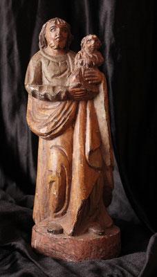 Curiosa talla de San José con niño ( S. XVIII - 18th century ) Curious carving of Saint Joseph with child