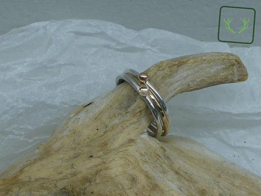 Bicolor Stapelringe Silber/Bronze