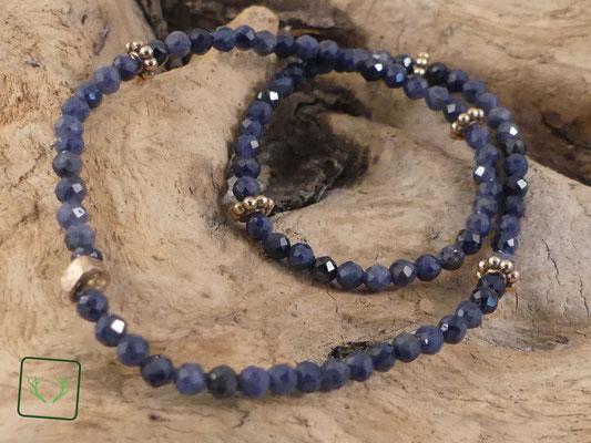 facettierte blaue Saphire mit Bronze
