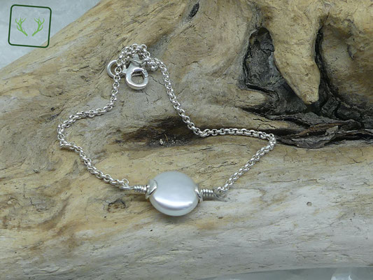 zartes Silberarmband mit Perle