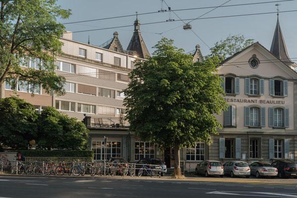 "Das Restaurant ""Beaulieu"" an der Ecke Länggassstrasse / Erlachstrasse."