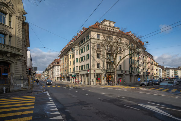 Kreuzung Länggassstrasse/Mittelstrasse.
