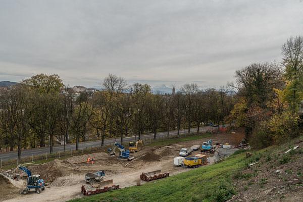 Bierhübeli: die neue Baustelle der SBB, Ausbau Bahnhof Bern. Hier wurden ganze Baumreihen geopfert.