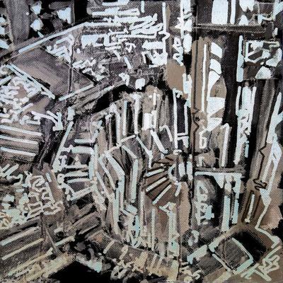 Estudio Super estructura 10 - Oleo sobre madera 28cm X 28cm