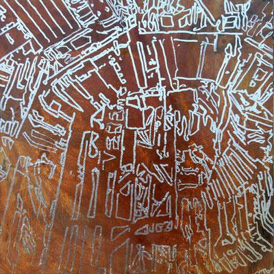 Estudio Super estructura 09 - Oleo sobre madera 28cm X 28cm