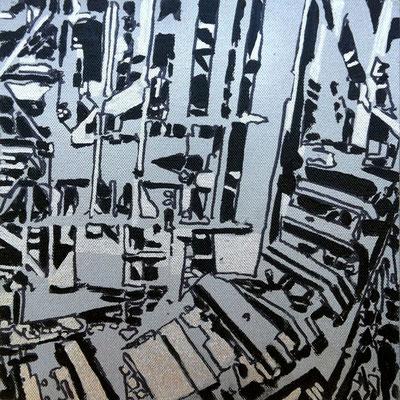 Estudio Super estructura 03 - Oleo sobre madera 28cm X 28cm