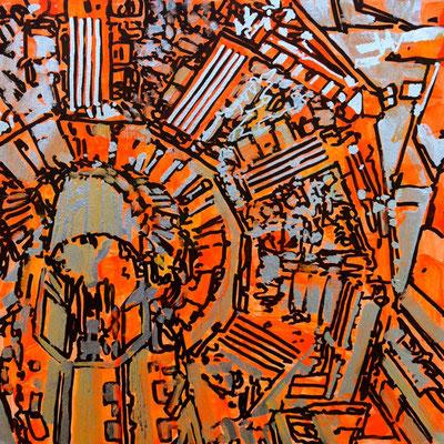 Estudio Super estructura 05 - Oleo/Acrilico sobre madera 28cm X 28cm