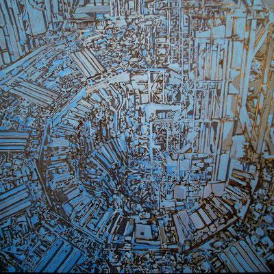 Super estructura 04 - Oleo y Esmalte sobre tela 140cm X 140cm