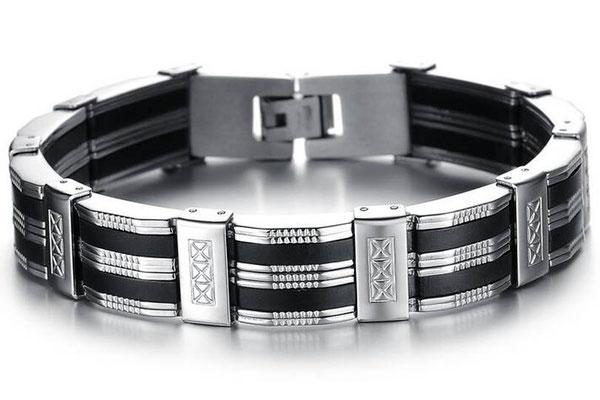 bracelet homme silicone noir et gravure