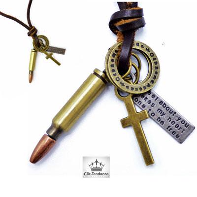 collier cartouche de fusil mitraillette